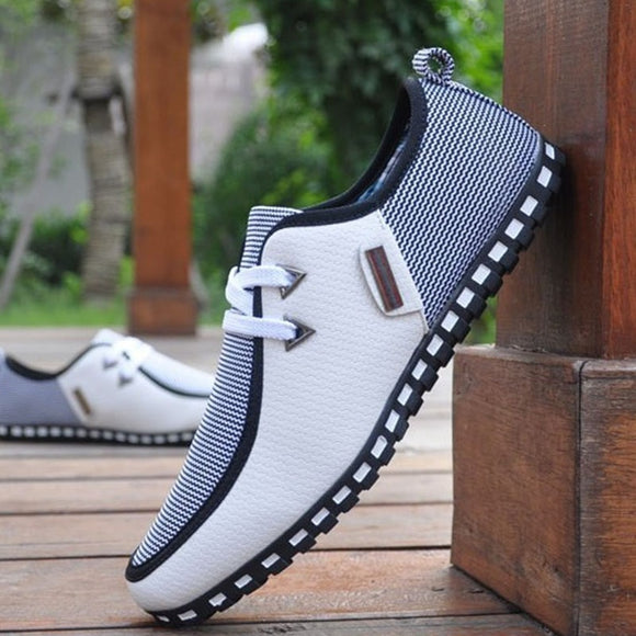 Fashion Sneakers Men Casual Shoes Leather Driving Shoes Flats Men Loafers Slip On White Black - 88digital