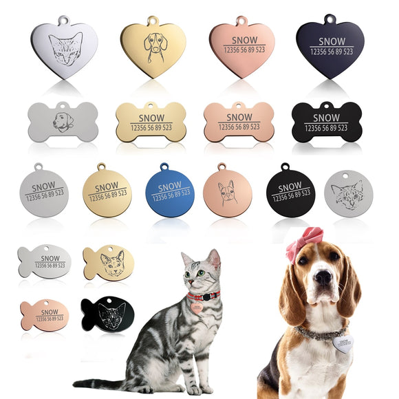 New 1pcs cat dog ID tag Free engraving dog Collar pet Charm Pet name pendant Bone Necklace Collar Puppy cat collar accessory