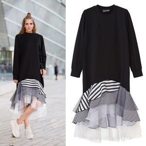 Women Long Sleeve T Shirt Midi Dress Patchwork Stripe Mesh Ruffle Flare Asymmetrical Hem Pullover Casual - 88digital