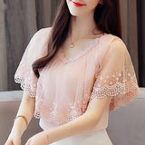 Women Tops and Blouses Summer Lace Blouse Shirt Fashion Women Blouses Short Sleeve Lace Top Blusa Feminina - 88digital