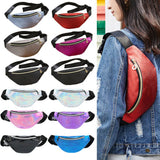 Womens Fanny Pack Shiny Leather Pouch Belt Waist Bum Bag Waist Phone Pocket Hot Girls Travelling Mobile Phone Bag Waist Packs