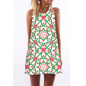 Short Beach Dress Women Style Digital Print Casual Bohomian Dress Sleeveless Round neck Chiffon Summer Dress - 88digital