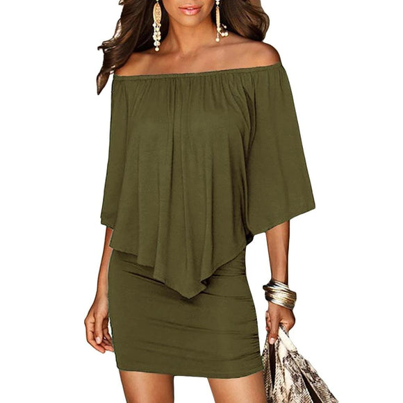 Army green Slash Neck Women Mini Dress Summer Style Off Shoulder Sexy Dresses Vestidos Black White Beach Casual Dress
