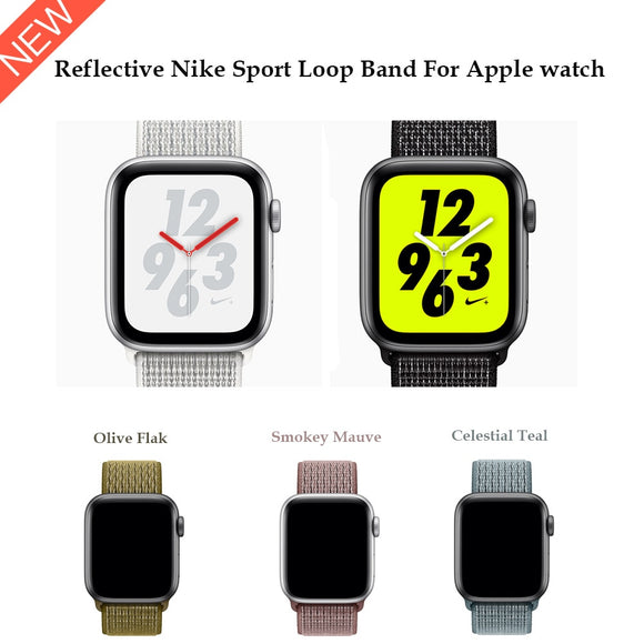 Reflective Nylon Sport Loop band for Apple Watch Nike Series 5 4 44mm 40mm strap watchband for iWatch 42mm 38mm Series 4 3 2