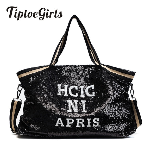 Sequin Women Bags Female Large Capacity Top-handle Bags  Appliques Lady's  Handbags National Casual Tote Girl Messenger Bags (Black W44H24D11 CM) - 88digital