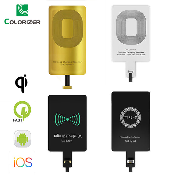 Qi Wireless Charging Receiver For iPhone 7 6s Plus 5s Micro USB Type C Universal Fast Wireless Charger For Samsung Huawei Xiaomi