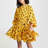 TWOTWINSTYLE Spring Floral Print Dress For Women O Neck Long Sleeve High Waist Bandage Female Dresses Casual Fashion 2019 New