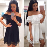 Black / White Dress Stylish Sexy Slash Neck Casual Slim Beach Summer Sundress