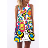 Summer Dress Women Fashion Red Lips Print Cute Party Dress Sleeveless O neck