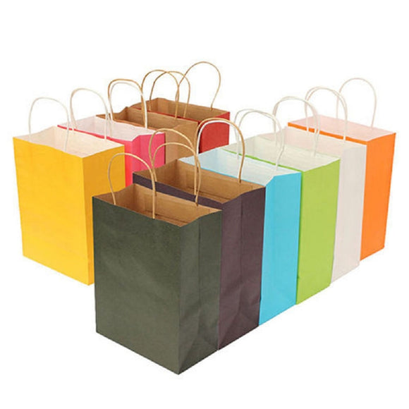 Recyclable 10 Colors High Quality Kraft Paper Bag With Handles Party Gift Tote Bags Shopping Paper Bag - 88digital