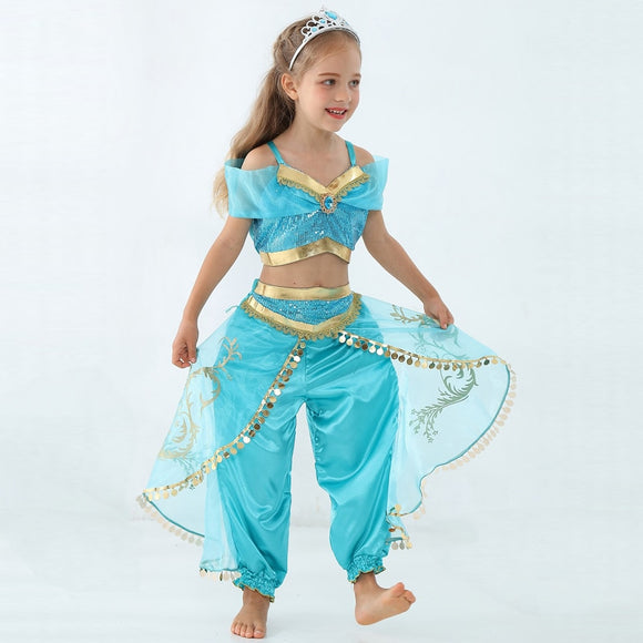 Girls Kid Summer Jasmine Princess Dance Dress Suit Aladdin Halloween Christmas Performance Costume Top Skirt Pant Two piece Set - 88digital
