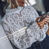 Simplee Elegant white lace blouse shirt Sexy hollow out embroidery feminine blouse Women long lantern sleeve summer tops female - 88digital
