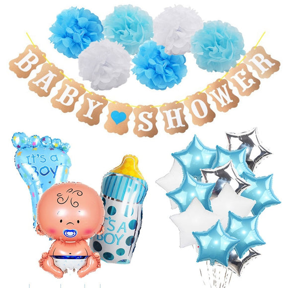 Baby Shower Party Decorations Set It's a Boy/Girl oh baby Balloons Banner Gender Reveal Kids Birthday Party DIY Decoration