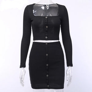 Ribbed Cotton Sexy Two Piece Set Dress Women Square Collar Long Sleeve Mini Bodycon Dress Buttons Autumn Party Dress 2019 - 88digital