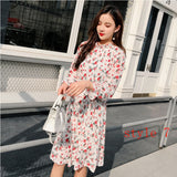 Two layers Floral Chiffon Dress Elastic Waist Women Spring A-line Lace Up Flare Sleeve Bohemian Dress Femme Vestidos 2019