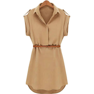 Women Casual Summer Loose Short Sleeve Chiffon Dress With Belt Hot Sale Office Lady Style - 88digital