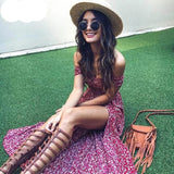 Aproms Sweet Pleated Tube Tunic Maxi Dress Red Floral Off Shoulder High Split Beach Dress Boho Cool Girls Sundresses