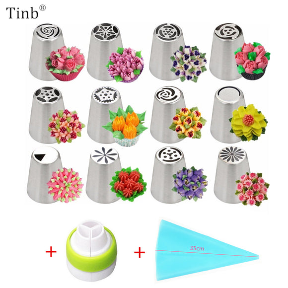 Russian Tulip Icing Piping Nozzles Stainless Steel Flower Cream Pastry Tips Nozzles Bag Cupcake Cake Decorating Tools 14pc/Set - 88digital