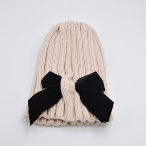Big Bows Knitted Baby Girl Hat Cap Autumn Winter Warm Kids baby winter Hat Solid Color Baby Beanie Bonnet enfant Child Muts