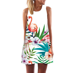 Flamingo Floral Print A-Line Dress Women Sleeveless Beach Boho Summer Dresses Sexy Lady Party Short Shift Dresses Casual Vestido