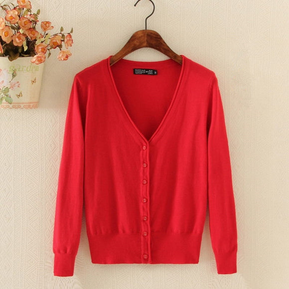Spring Lady's Knitted Sweater Plus Size Cardigans for Women Long Sleeve Female Cardigan Short Sweaters - 88digital