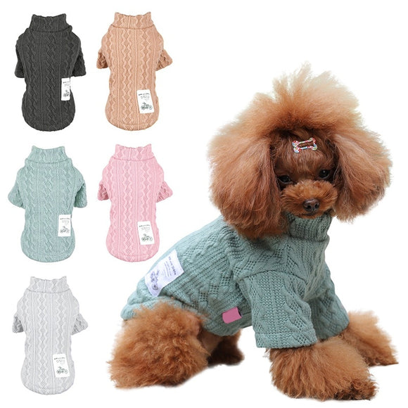 Pet Puppy Double Pattern Turtleneck Dog Sweaters Winter Warm Puppy Clothes Knit Pet Sweaters Cheap Knitwear Costume