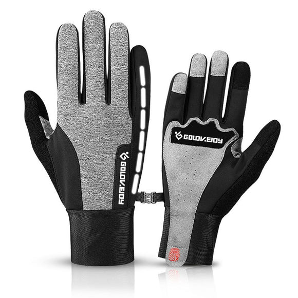 Loogdeel Touch Screen Bike Gloves Winter Thermal Windproof Warm Full Finger Cycling Glove Anti-slip Bicycle Gloves For Men Women