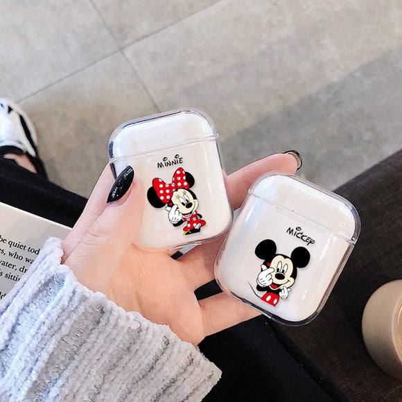 For Airpods Case Cute Cartoon Transparent Hard Wireless Bluetooth Earphone Case For Apple Air pods Charging Headphone Box