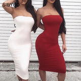 Off Shoulder Strapless Sexy Women Dress Sleeveless Straight Long Bodycon Dress Backless Casual Autumn Party Dress Women - 88digital