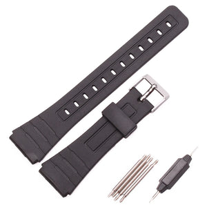 Silicone Watchband Women Men Black Sport Diving Watch Band Strap With Stainless Steel For Casio G-Shock 16mm 18mm 20mm