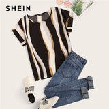 SHEIN Cuffed Sleeve Color Block Top 2019 Elegant Round Neck Roll Up Sleeve Blouse Chic Summer Short Sleeve Women Blouses - 88digital