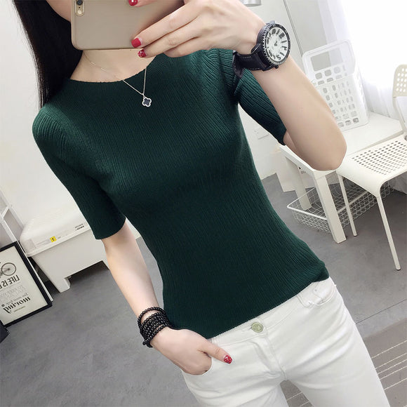 Half sleeve cotton Crewneck sweater female