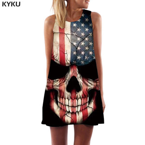 Skull Dress Women Skeleton Boho Gray 3d Print Ink Office Gothic Beach Womens Clothing Vintage Ladies - 88digital