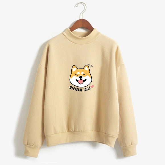 Women Harajuku Hoodies Fleece Autumn Kawaii Cute Japanese Anime Shiba Innu Pullover Kpop Sweatshirt Moletom sudadera mujer - 88digital