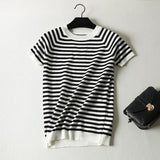 Short Sleeve Striped Pullover Women Sweater Knitted Sweaters O-Neck White Black