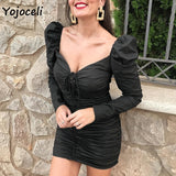 Sexy long sleeve bodycon lace up dress women vintage royal square neck mini dress party club fold elastic dress - 88digital