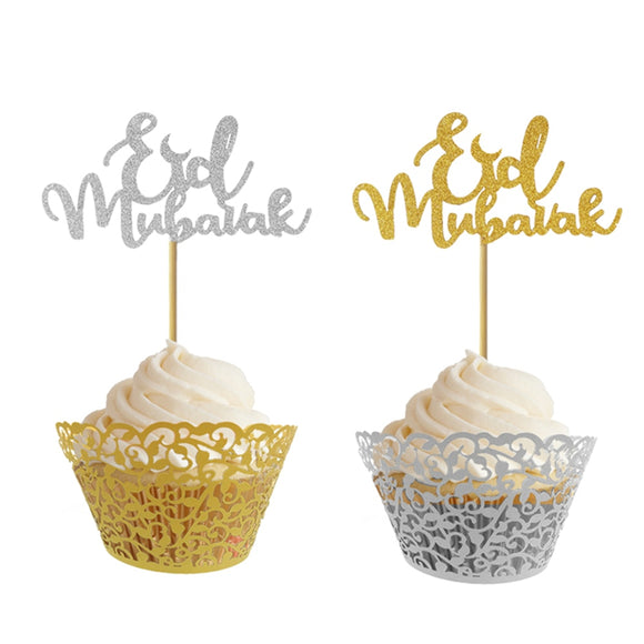 20Pcs High Quality Glitter Paper Happy Eid Mubarak Cupcake Toppers For Muslim Eid Party Decoration Gold Silver Eid Decor - 88digital