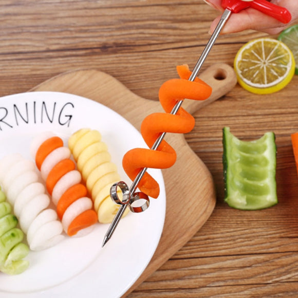 Vegetables Carving Tool Potato Carrot Cucumber Salad Chopper Manual Spiral Screw Slicer JCFCJ207