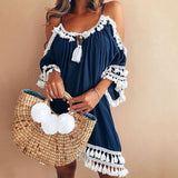 Female Spaghetti Strap Boho Dress Plus Size 5XL Summer Loose Beach Sundress Backless Short Sleeve Tassel Women Dresses GV130 - 88digital
