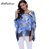 Women Blouse Shirt Plus Size 4XL 5XL 6XL Batwing Sleeve Chiffon Tops Floral Print