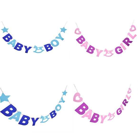1 Set Non-Woven Fabric Baby Boy/Girl Shower Happy Birthday Decorative Event Party