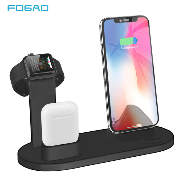 FDGAO 3 in 1 Charging Stand For iPhone 11 Pro X XR XS MAX 8 7 6S Plus Charger Dock Station Base For Apple Watch 4/3/2/1 AirPods