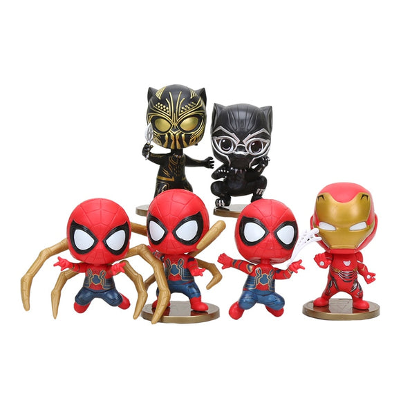 6pcs/set Marvel Avengers Infinity War Spiderman Action Figure Black Panther PVC Spider Man Figure Collectible Model toys gift