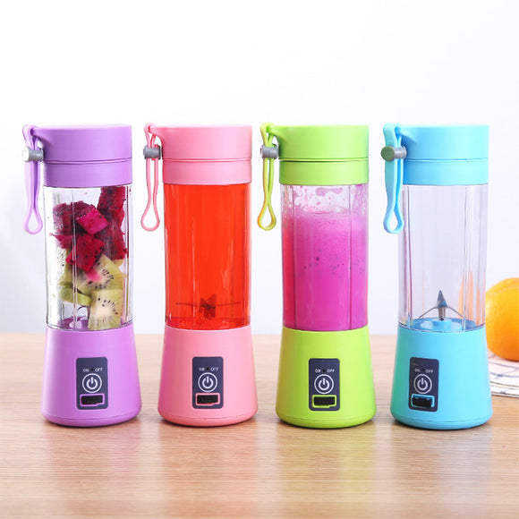 380ml Electric Fruit Citrus Orange Lemon Juicer Maker USB Rechargeable 4/6 Blade Portable Blender Mixer Water Bottle Juicing Cup