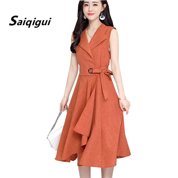 Saiqigui 2019 new fashion Summer Dress Sleeveless work OL women dress casual A-Lin v-neck Elegant dress vestidos de festa - 88digital