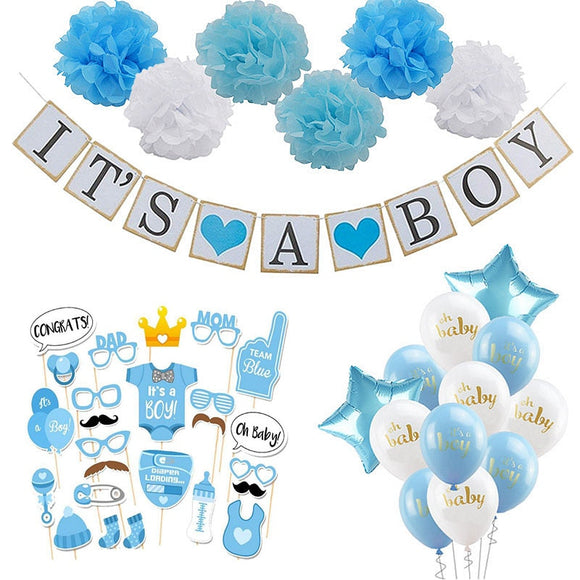 Baby Shower Boy Girl Decorations Set It's a Boy It's a Girl oh baby Balloons Gender Reveal Kids Birthday Party Baby Shower Gifts - 88digital