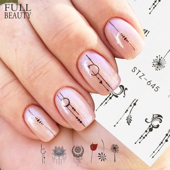 1pcs Nail Water Transfer Sticker Linear Flower Pattern Nail Art Decorations Slider For Nail Manicure Watermark Foils - 88digital