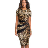 Nice-forever Vintage Optical Illusion Leopard Color Block Work vestidos Business Party Bodycon Office Sheath Women Dress - 88digital