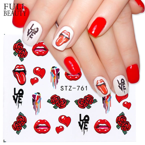 Full Beauty 1pcs Pop Style Water Nail Art Slider Sticker Transfer Tip Cool Girl Lips Rose DIY Nail Decal Decor Tool CHSTZ756-763 - 88digital