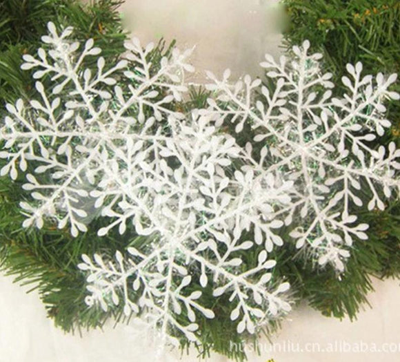 MEIDDING 30pcs Christmas Tree Decoration Snowflakes 11cm White Plastic Artificial Snow Christmas Decor Home New Year Party Decor